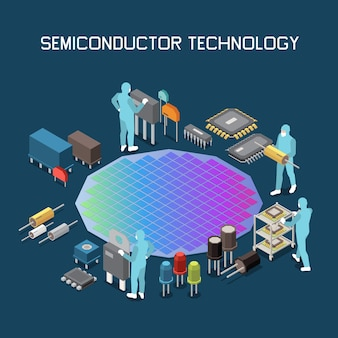 Semductor chip production isometric composition with editable text and gradient colored sil wafer with circuit s