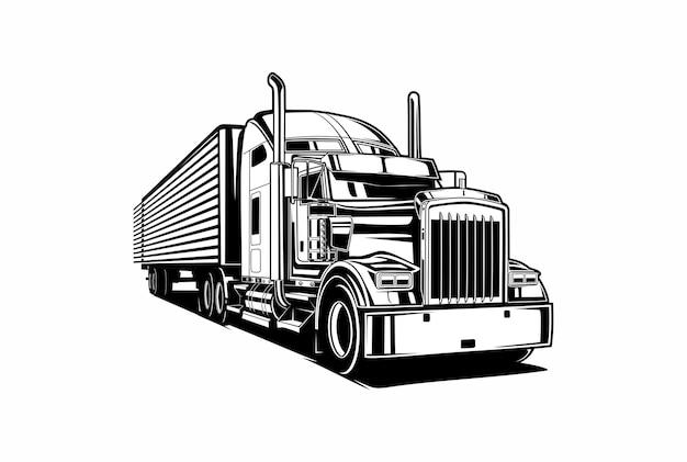 Semi trailer truck black and white