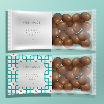 Semi transparent food & snack packet packaging with geometric pattern and milk chocolate