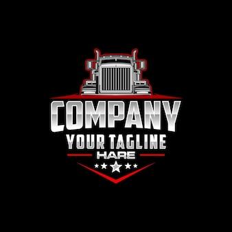 Semi truck logo emblem logo template