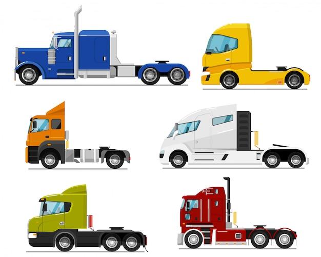 세미 트럭 세트. 세미 트레일러 운반을위한 격리 된 트랙션 장치 장비 또는 원동기 운송. 택시 아이콘 모음 트랙터 유닛의 측면보기. 산업용 대형 트럭 차량 운송