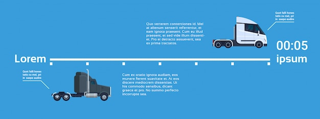 Semi truck trailers elelments of template infographics banner with copy space for text lorry vehicle