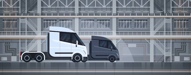 Semi trucks industrial warehouse interior delivery shipping cargo concept