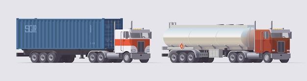 セミトラックセット。コンテナトレーラーを運ぶトラックとガソリンタンクを運ぶトラック。明るい背景にトレーラーと孤立したアメリカのトラクター。