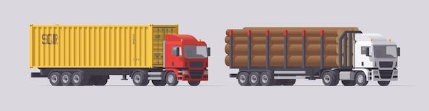 セミトラックセット。コンテナトレーラーを運ぶトラックと木材トレーラーを運ぶトラック。明るい背景にトレーラーと孤立したヨーロッパのトラクター。