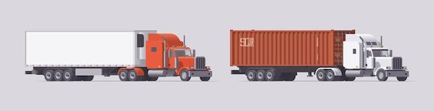 セミトラックセット。冷蔵庫トレーラーを運ぶトラック&コンテナトレーラーを運ぶトラック。明るい背景にトレーラーと孤立したアメリカのトラクター。