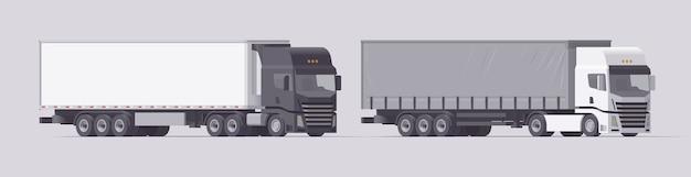 セミトラックセット。傾斜トレーラーを運ぶトラックと冷蔵庫トレーラーを運ぶトラック。明るい背景にトレーラーと孤立したヨーロッパのトラクター。