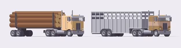 セミトラックセット。木材トレーラーを運ぶトラックと牛トレーラーを運ぶトラック。明るい背景にトレーラーと孤立したアメリカのトラクター。