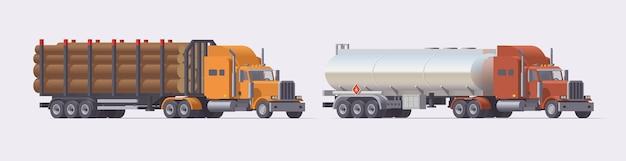セミトラックセット。木材トレーラーを運ぶトラックとガソリントレーラーを運ぶトラック。明るい背景にトレーラーと孤立したヨーロッパのトラクター。