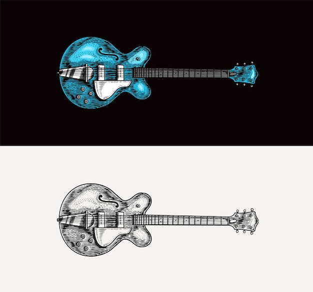 Semiacoustic jazz bass guitar in monochrome engraved vintage style hand drawn sketch for rock