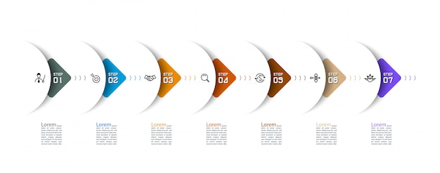 Semicircle arrow on horizontal infographics design vector graphic art.