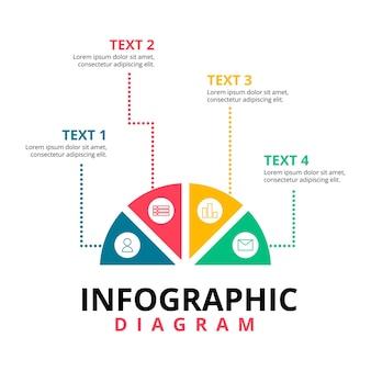 Полукруг креативная схема. концепция бизнес-плана. шаблон элемента инфографики.