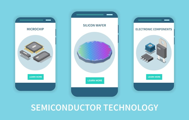 Semiconductor chip production vertical set of banners illustration