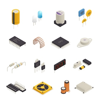 Semiconductor electronic components isometric set Free Vector