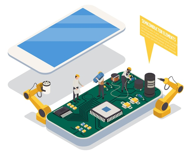 Semiconductor element in smartphone concept with hardware isometric
