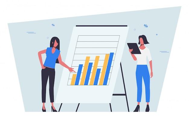 Семинар и представление с диаграммой статистики бизнеса на бухгалтерии плоский дизайн людей.