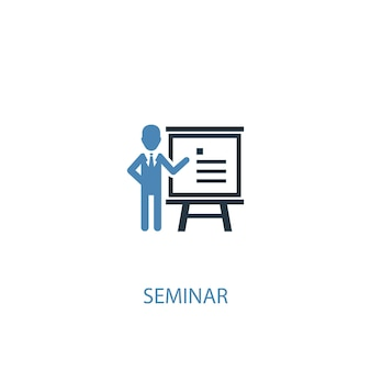 Seminar concept 2 colored icon. simple blue element illustration. seminar concept symbol design. can be used for web and mobile ui/ux