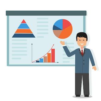 Семинар по экономике с графиками, цветные векторные иллюстрации в плоском стиле.