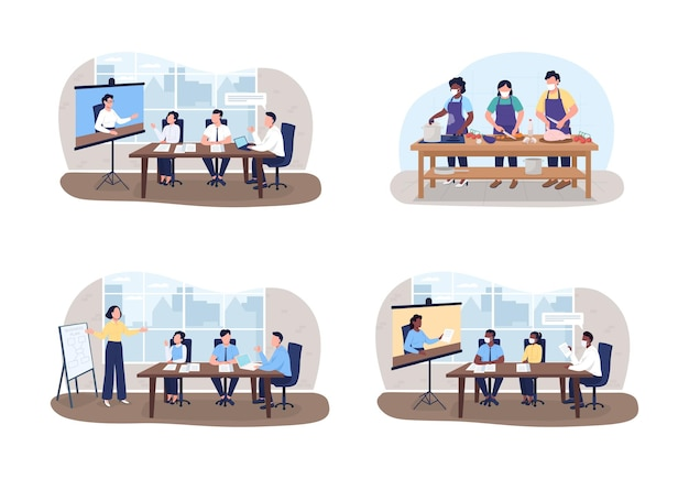 Seminars and workshops 2d vector web banner, poster set. tutors and students flat characters on cartoon background. professional training printable patch, colorful web element collection