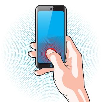 手に赤いボタンがある半透明のスマートフォン