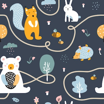 Semless pattern with cute bear, hedgehog, squirrel, hare.