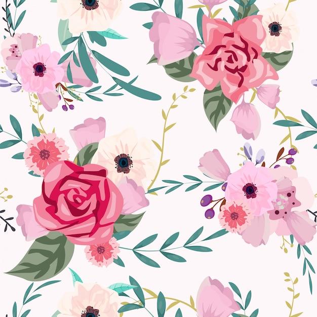 花と葉のsemless背景パターン、水彩