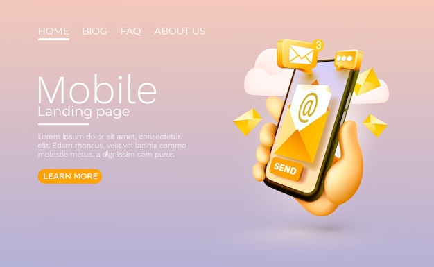 Отправить сообщение электронной почты смартфон мобильный экран технологии мобильный дисплей вектор