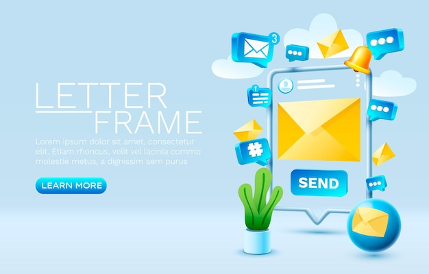 Send an email message smartphone mobile screen technology mobile display vector