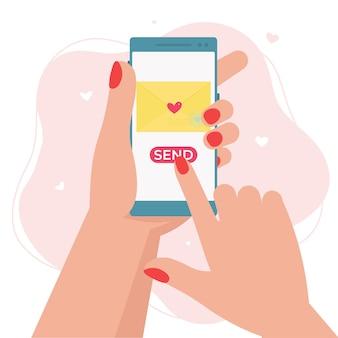 Отправить уведомление о любви по электронной почте на мобильный телефон. смартфон удерживания руки с конвертом влюбленности. плоский рисунок