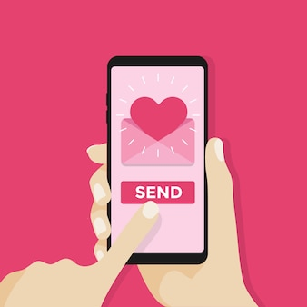 Send love with mobile phone.
