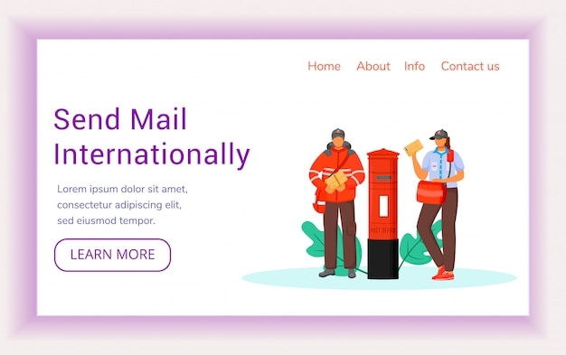 Send mail internationally landing page vector template. royal post service website interface idea with flat illustrations. traditional british post homepage layout landing page