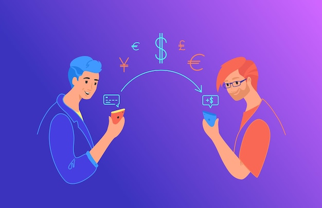 Send money gradient vector neon illustration for web and mobile design. man sending money from credit card on smart phone to friend on mobile wallet via app. young teenagers with financial symbols