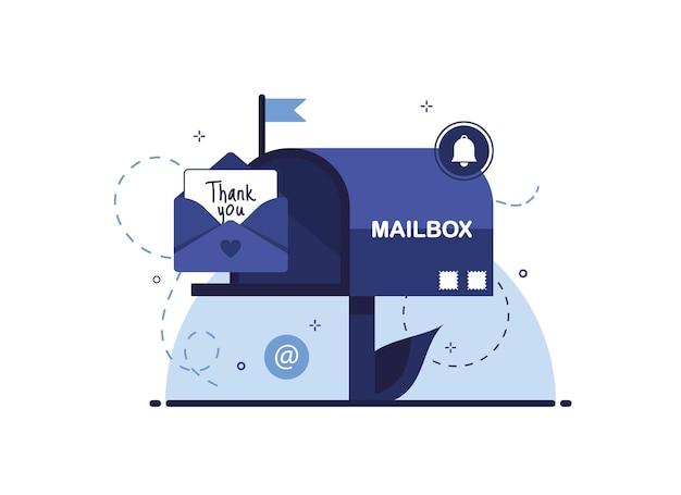 우편함이나 이메일로 감사 편지를 보내거나받습니다.