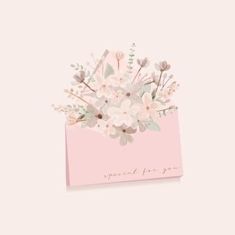 あなたのために特別な封筒で花束の花のメッセージを送る