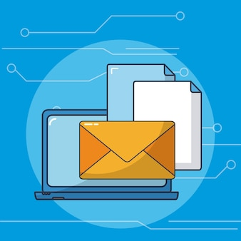 Sending emails from laptop vector ilustration