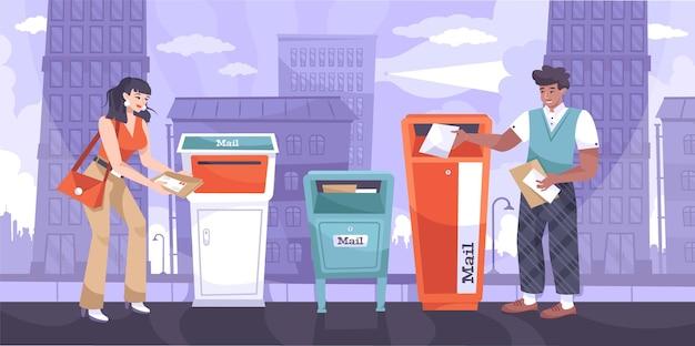 都市景観シーンとメールボックスと送信者と郵便局員のキャラクターのイラストで手紙フラット構成を送信します