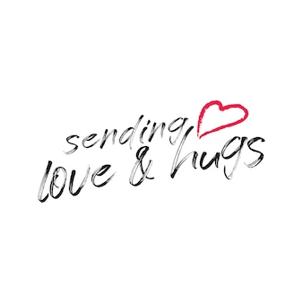 Sending love and hugs in typographic lettering free vector for those who is far from us