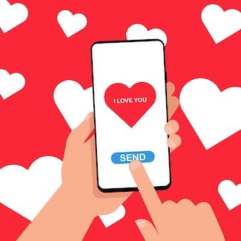Отправка концепции любовного сообщения. смартфон с сердечком с надписью «я тебя люблю» на экране в руках на фоне сердечков. покажи и дари любовь. векторная иллюстрация. eps 10
