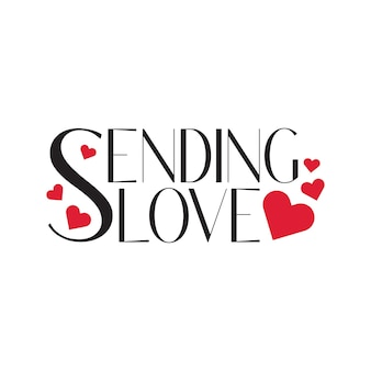 Sending love typography lettering with heart shapes floating around in free vector