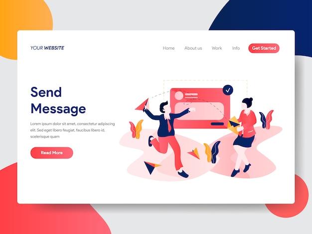 Sending message illustration for web page