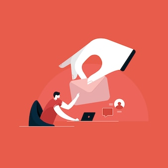 Sending and receiving mail illustration, email marketing, internet advertising concepts