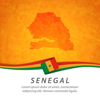 Senegal flag with central map