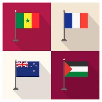 セネガルフランスニュージーランド、パレスチナの旗