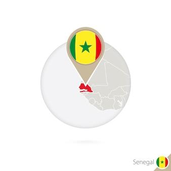 Senegal map and flag in circle. map of senegal, senegal flag pin. map of senegal in the style of the globe. vector illustration.