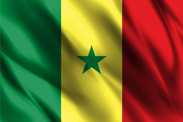 Senegal national flag waving silk background