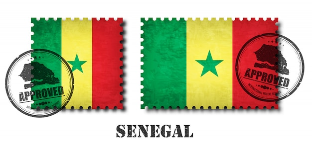 Senegal or senegalese flag pattern postage stamp
