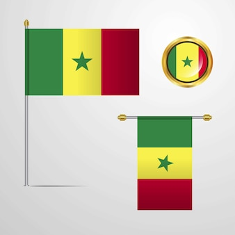 Senegal waving flag design with badge vector