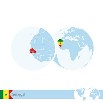 Senegal on world globe with flag and regional map of senegal. vector illustration.