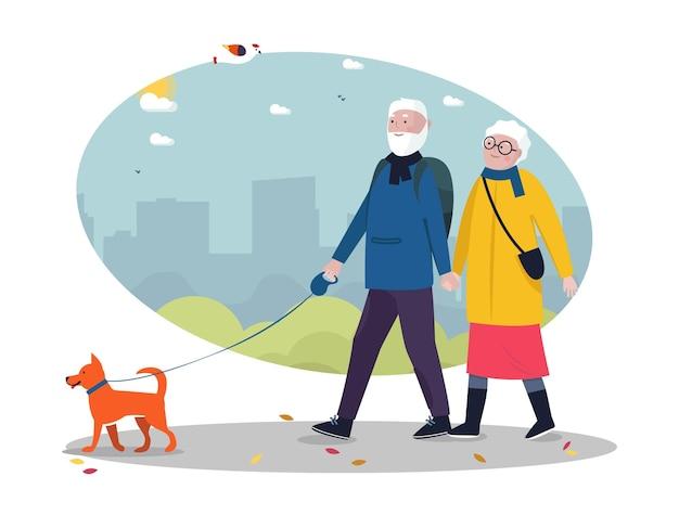 Senior active lifestyle outdoor concept senior couple walking with dog cityscape on the backgroun