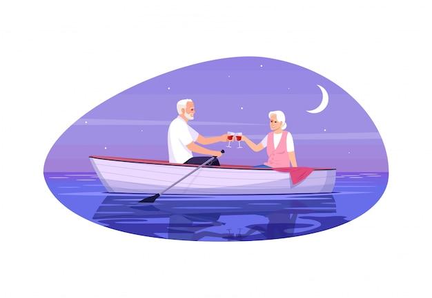 Senior adult couple semi flat   illustration
